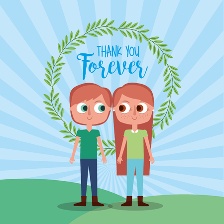 thank forever brother and sister floral wreath card vector illustration Çizim