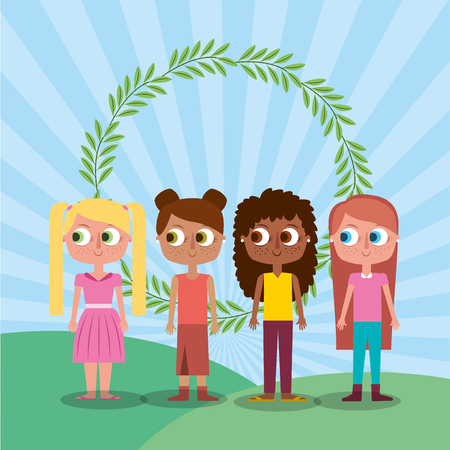 friends happy girl teen characters and floral wreath vector illustration Illustration