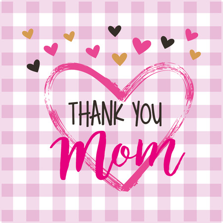 painting heart thank mom - mothers day card vector illustration