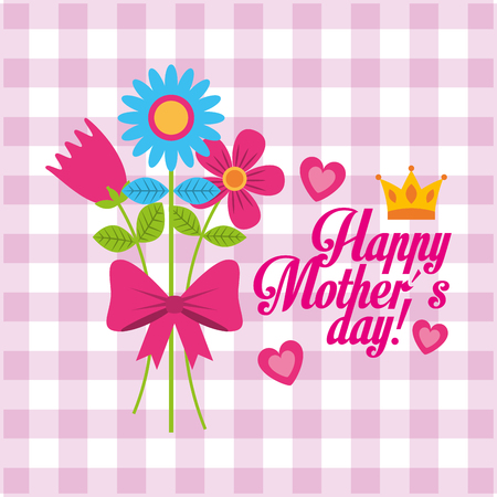 happy mothers day card invitation bunch flowers vector illustration Illustration