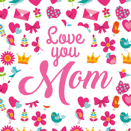 love mom flowers ribbon bow heart birds decoration - mothers day card vector illustration