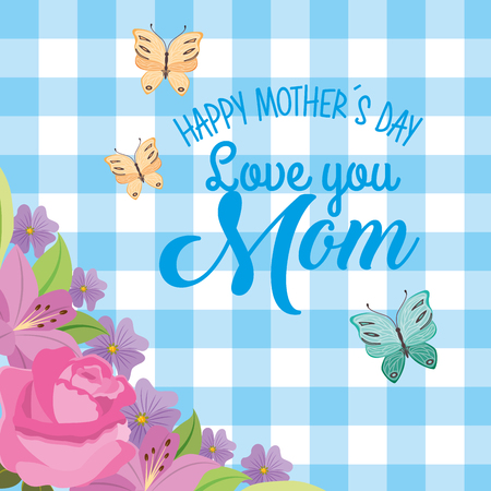 happy mothers day card flowers and blue checkered background vector illustration
