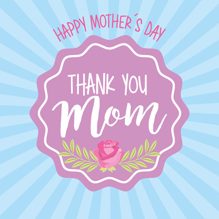 thank mom label ornament - mothers day card vector illustration