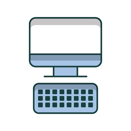 computer desktop with keyboard vector illustration design Illustration