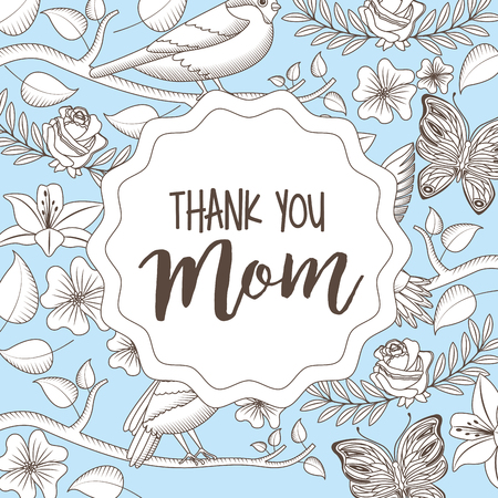 thank mom vintage style label - mothers day card vector illustration
