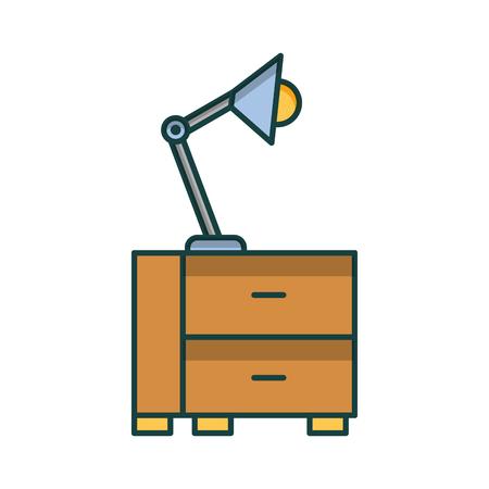 office drawer with lamp vector illustration design Archivio Fotografico - 97255547
