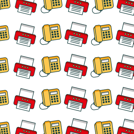 office printer and telephone pattern background vector illustration design
