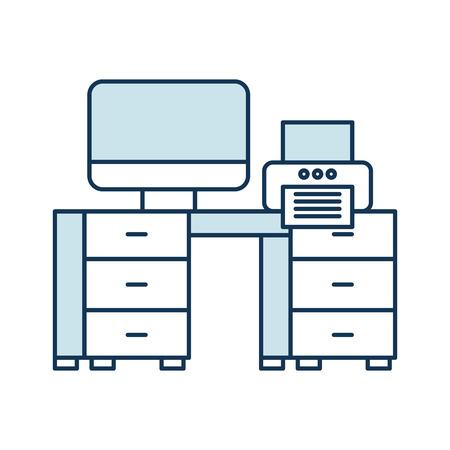 コンピュータとプリンタのアイコンが表示されたオフィス デスク  イラスト・ベクター素材