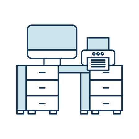 Office desk with computer and printer icon 版權商用圖片 - 97251293