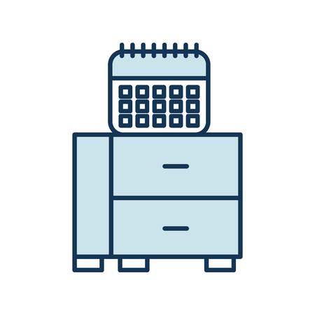 office drawer with calendar vector illustration design