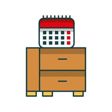 office drawer with calendar vector illustration design Archivio Fotografico - 97255571