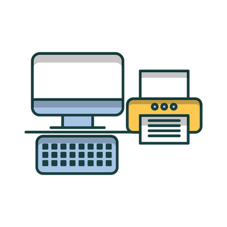 Office printer with computer icon Illustration