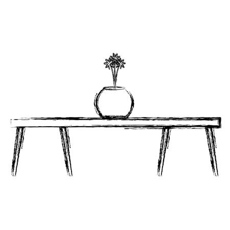 Wooden table with flower vase vector illustration design Illustration