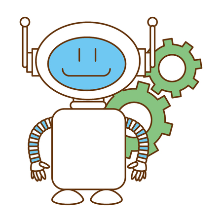 technological robot with gears character icon vector illustration design Çizim