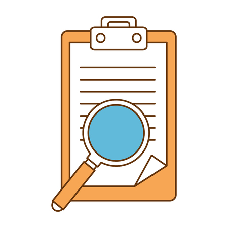 checklist document with magnifying glass vector illustration design Ilustrace