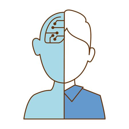half man half robot character vector illustration design Illustration