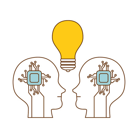 human profiles with electrical circuit and bulb vector illustration design