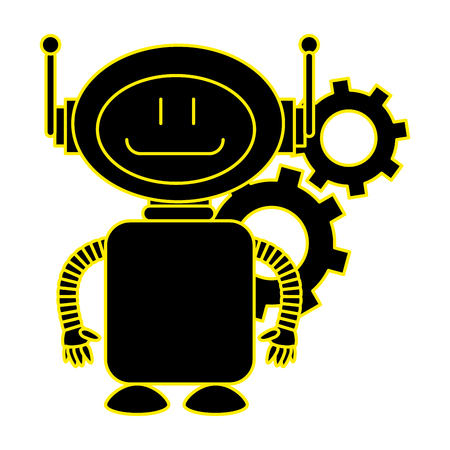 technological robot with gears character icon vector illustration design Illustration