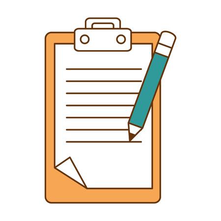 Documento de lista de verificación con diseño de ilustración vectorial de lápiz Ilustración de vector