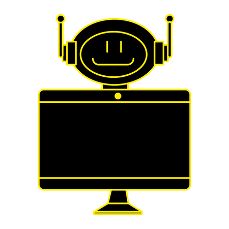 technological robot with monitor character icon vector illustration design