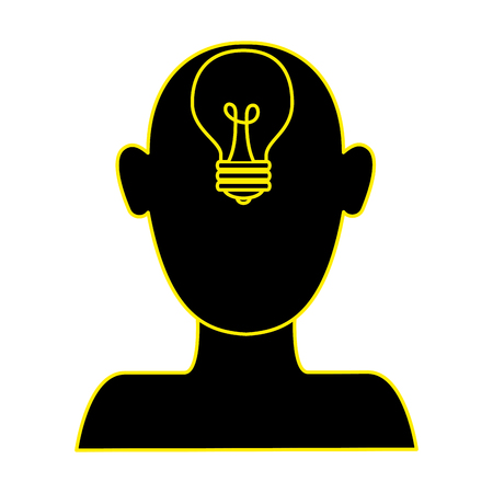 profile with bulb light idea vector illustration design