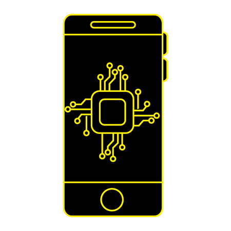 smartphone with processor and circuit vector illustration design