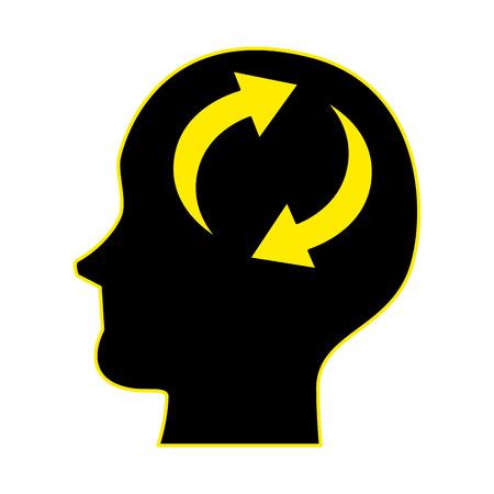 head profile with arrows reload vector illustration design Standard-Bild - 97255853