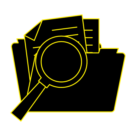 folder document with magnifying glass vector illustration design