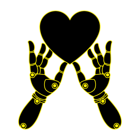 robot hands with heart vector illustration design Иллюстрация