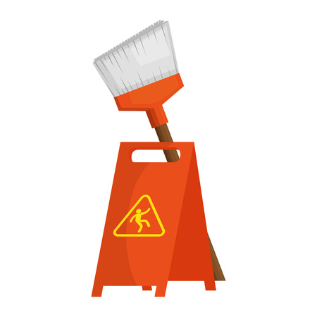 slippery floor sign with broom vector illustration design