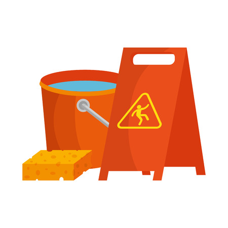 slippery floor sign with bucket and sponge vector illustration design