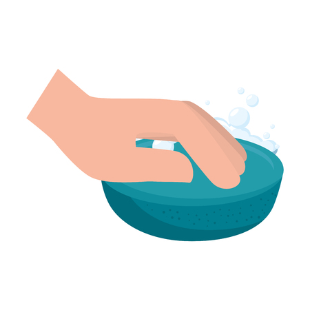 hand cleaning with soap vector illustration design