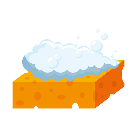 sponge with soap foam vector illustration design Illustration