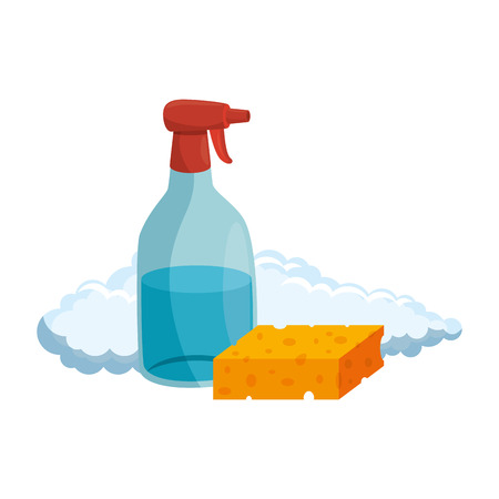 household cleaning product spray bottle with sponge vector illustration design
