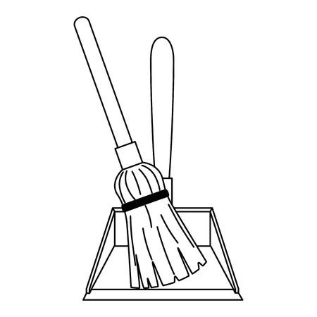 Garbage picker with mop vector illustration design Illustration