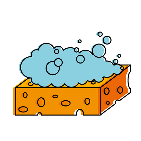 Sponge with soap foam vector illustration design