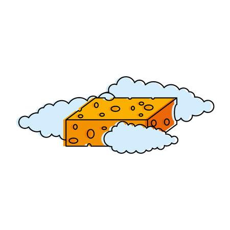 Sponge with soap foam vector illustration design