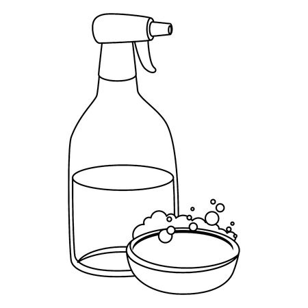 Household cleaning product spray bottle with soap vector illustration design