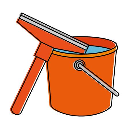 Window cleaner with plastic bucket vector illustration design Illustration