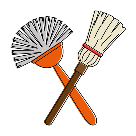 Sanitary brush with mop vector illustration design