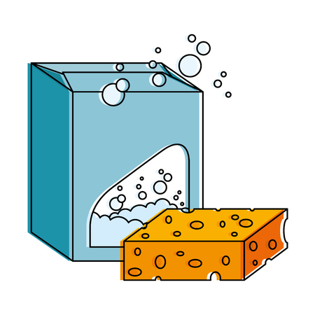 Powder detergent box product with sponge vector illustration design