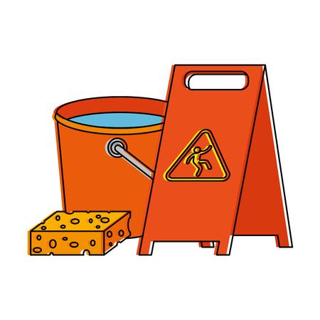 Slippery floor sign with bucket and sponge vector illustration design Çizim