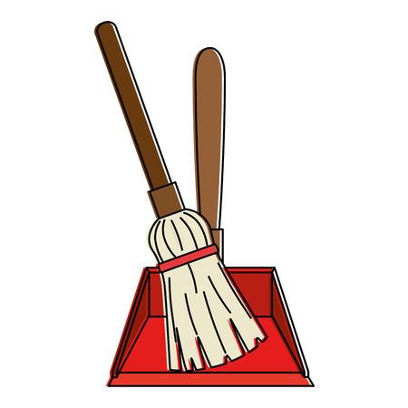 Garbage picker with mop vector illustration design Vettoriali
