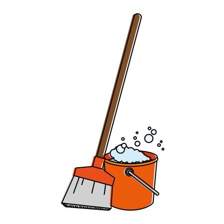 Sweep broom with plastic bucket vector illustration design