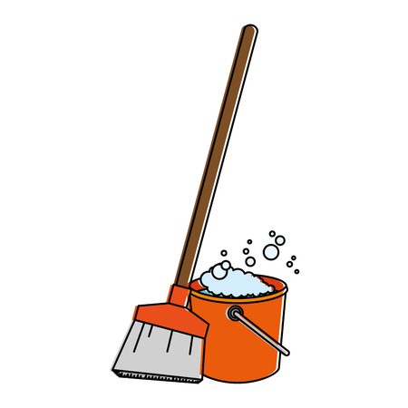 Sweep broom with plastic bucket vector illustration design