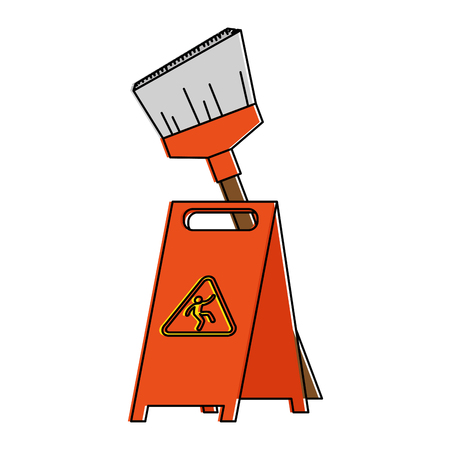 Slippery floor sign with broom vector illustration design Reklamní fotografie - 97333595