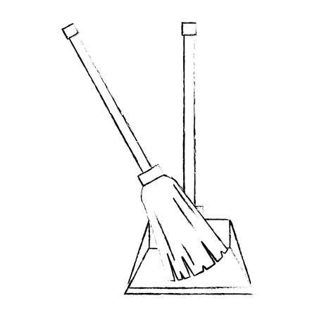 garbage picker with mop vector illustration design Archivio Fotografico - 97358275