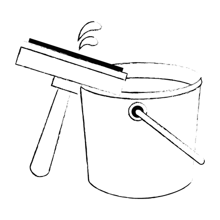 window cleaner with plastic bucket vector illustration design