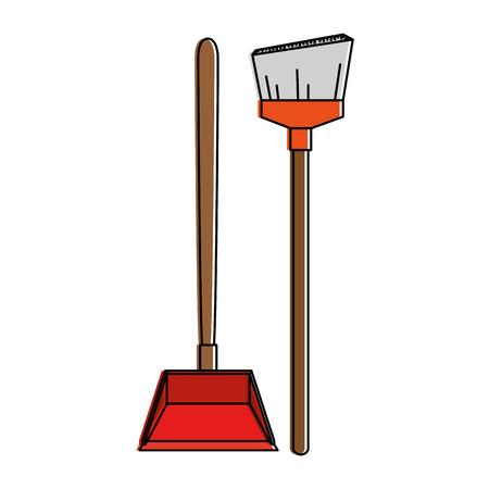garbage picker with broom vector illustration design Archivio Fotografico - 97266354