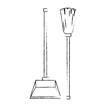 garbage picker with mop vector illustration design Archivio Fotografico - 97265727